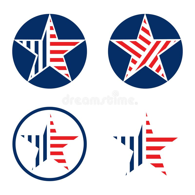 Insieme di stile di progettazione della bandiera americana della stella del cerchio illustrazione di stock
