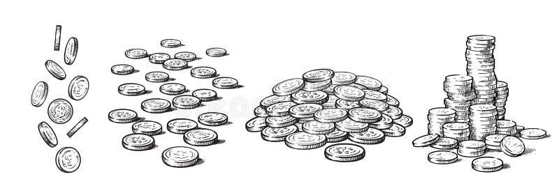 Insieme di stile di schizzo delle monete nelle posizioni differenti Dollari di caduta, mucchio di contanti, pila di soldi Mano in illustrazione di stock