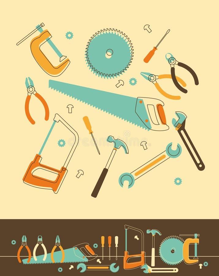 Insieme di strumenti illustrazione vettoriale