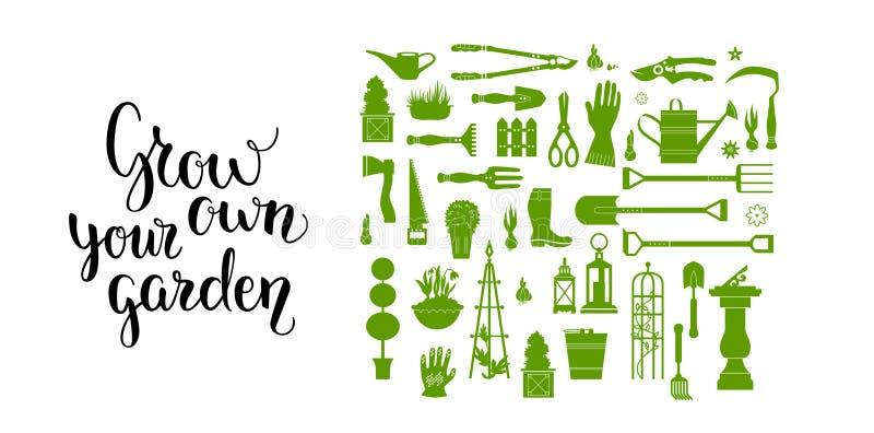 Insieme di strumenti verde del giardino illustrazione vettoriale
