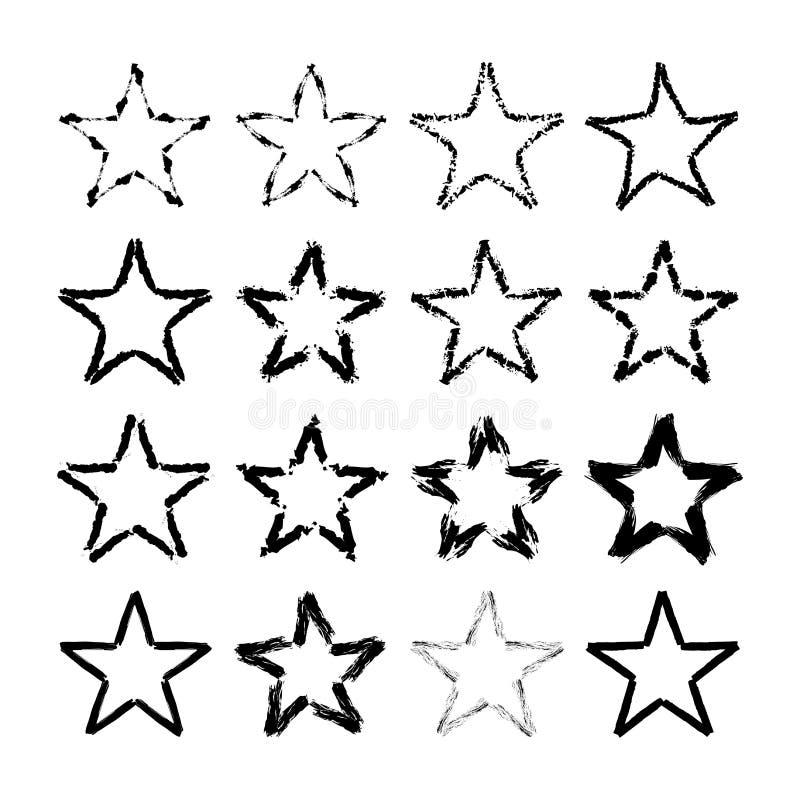 Insieme di struttura di lerciume delle icone della stella illustrazione vettoriale