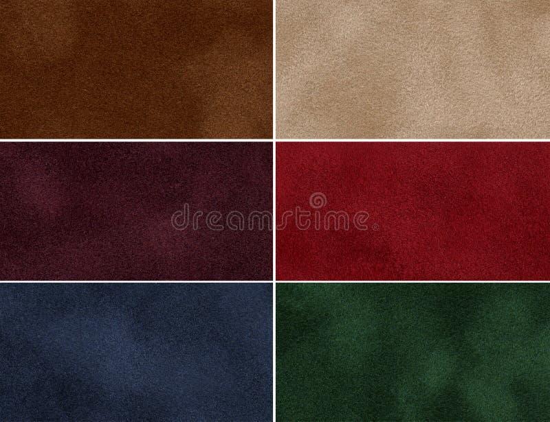 Insieme di struttura multicolore del velluto. immagine stock