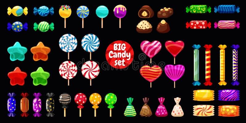 Insieme di Supe dei dolci differenti sulla caramella di menta piperita nera dei fagioli di gelatina del confetto delle caramelle  fotografia stock libera da diritti