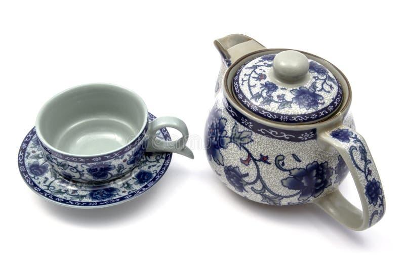 Insieme di tè cinese con il vaso e le tazze fotografia stock