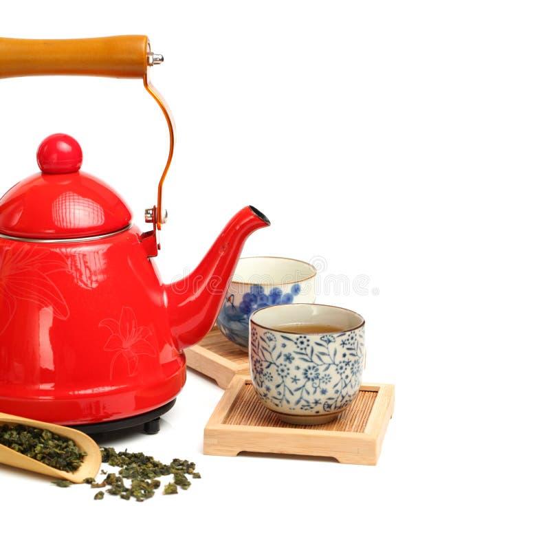 Insieme di tè cinese con la teiera, tazze fotografia stock
