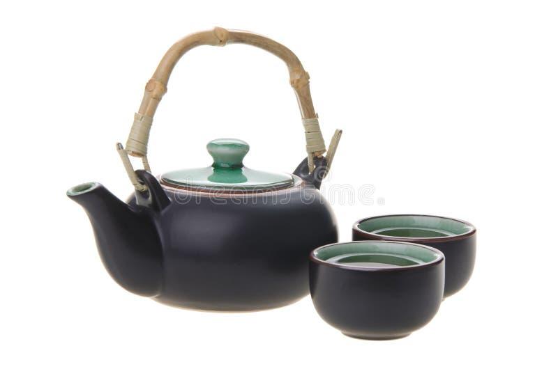 Insieme di tè cinese con le tazze ed il POT del tè fotografia stock libera da diritti
