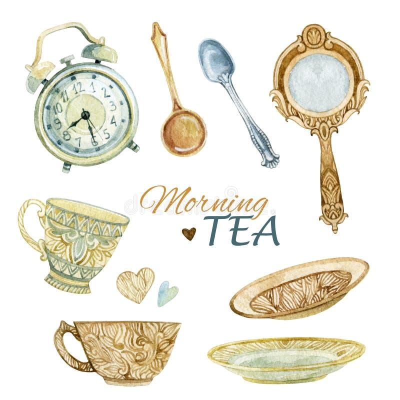 Insieme di tè dell'acquerello illustrazione vettoriale