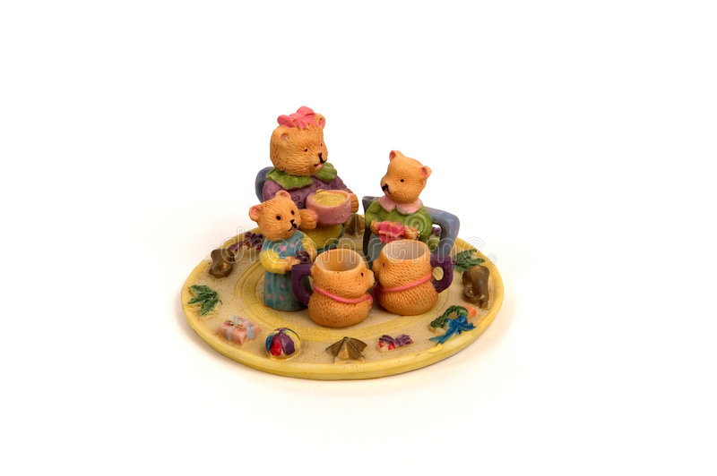 Insieme di tè dell'orso dell'orsacchiotto fotografie stock