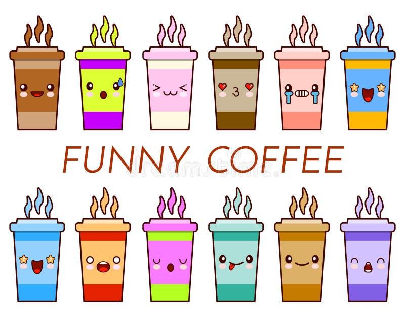 Insieme di tè della tazza di caffè Tazza sveglia del fumetto con gli emoticon del fronte Autoadesivi divertenti di logo della taz royalty illustrazione gratis