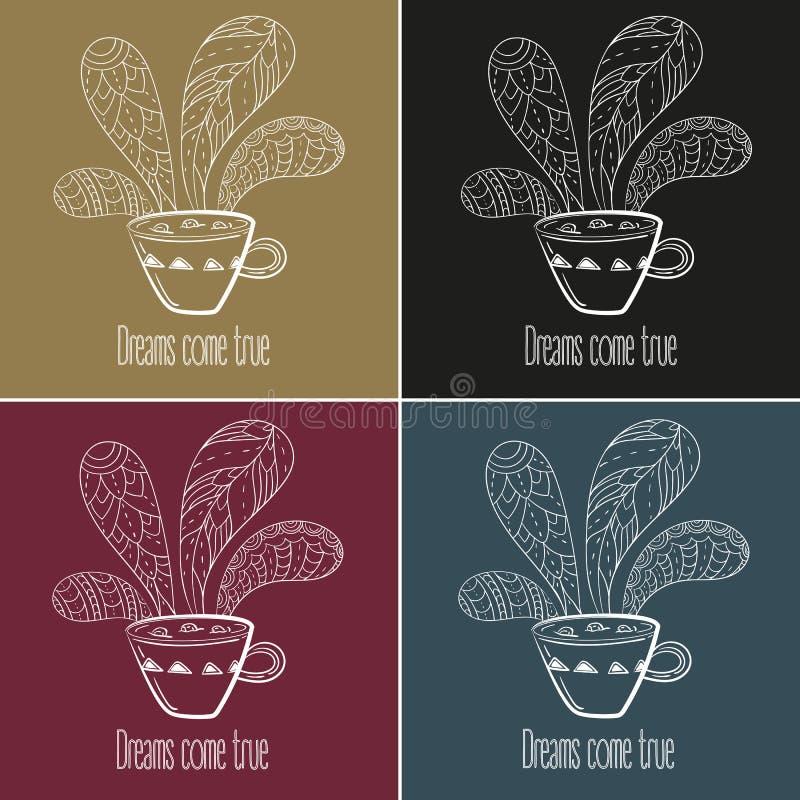 Insieme di tè o del caffè I sogni si avverano il testo illustrazione di stock