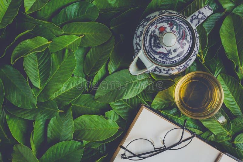 Insieme di tè piano di disposizione fotografia stock