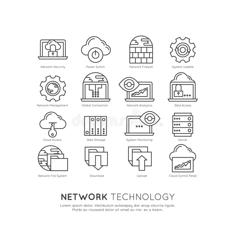 Insieme di tecnologia di rete illustrazione di stock
