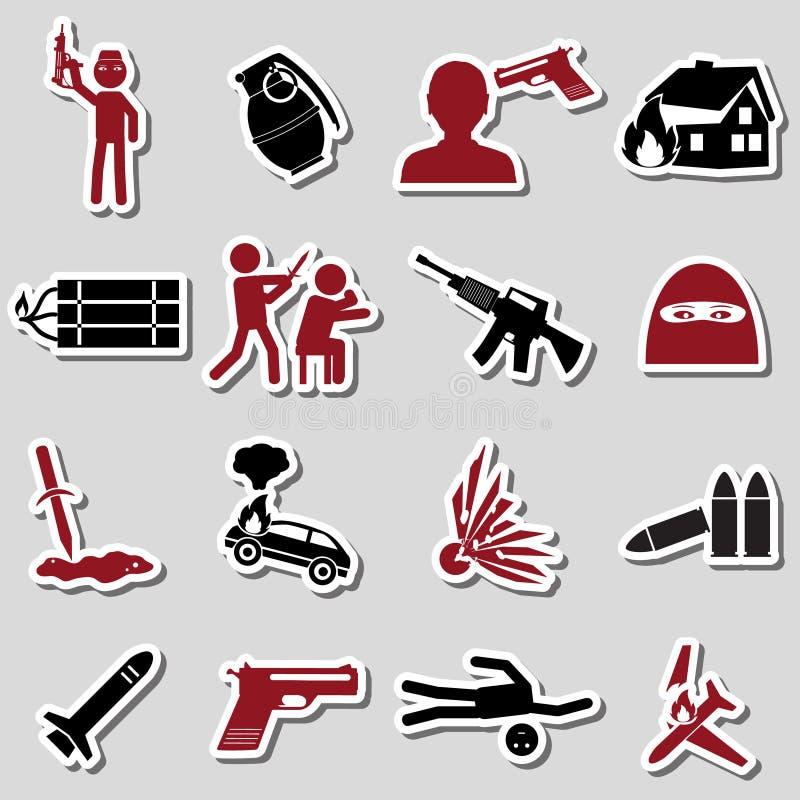 Insieme di tema del terrorismo delle icone rosse e nere eps10 degli autoadesivi illustrazione vettoriale