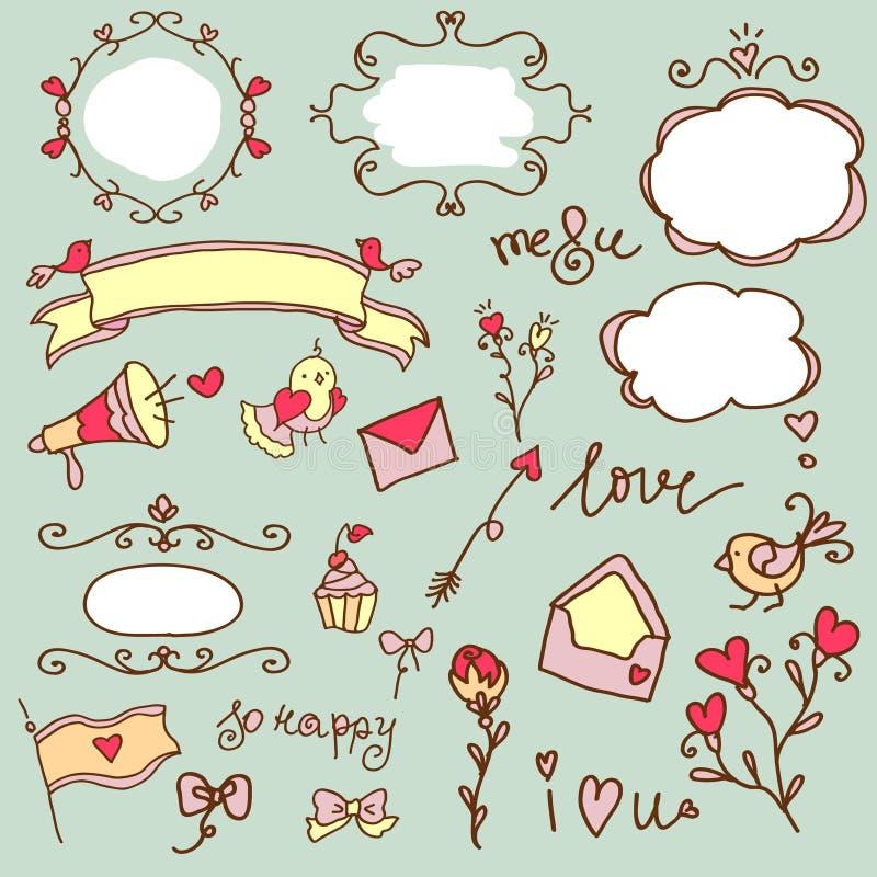 Insieme di tema di amore illustrazione di stock