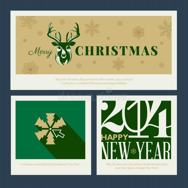 Insieme di templa della cartolina d'auguri del nuovo anno e di Natale illustrazione di stock