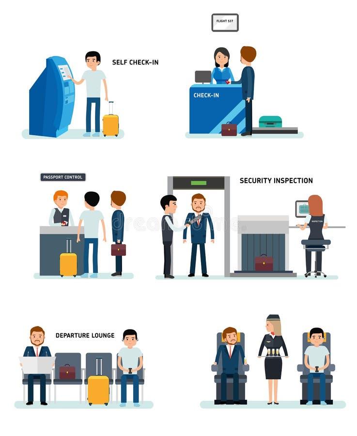 Insieme di terminali dell'aeroporto con i grafici ed altri elementi royalty illustrazione gratis