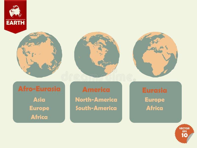 Insieme di terra che l'afro indicato l'Eurasia, america e l'Eurasia parteggia illustrazione di stock