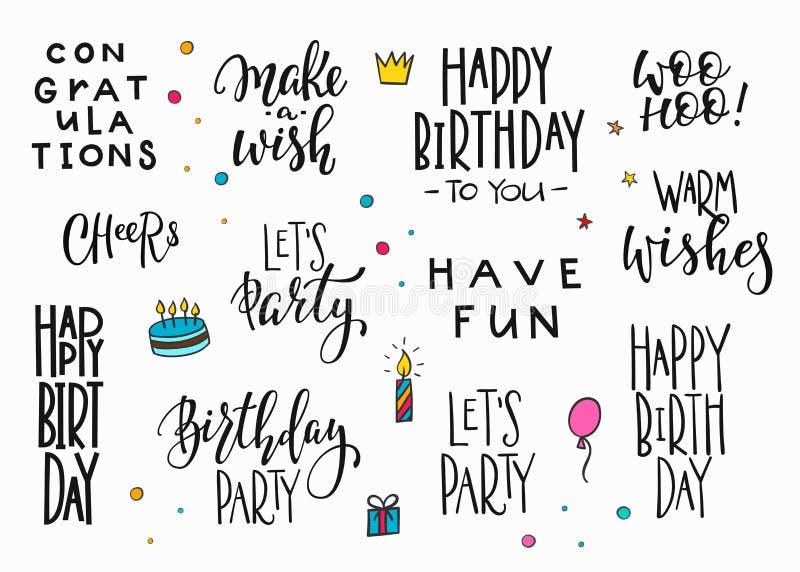 Insieme di tipografia dell'iscrizione del partito di buon compleanno illustrazione di stock