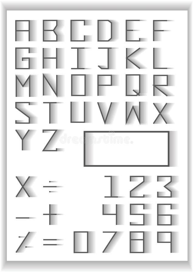 Insieme di tipografia simboli di numero e di per la matematica di tipografia di progettazione di dissolvenza di miscela royalty illustrazione gratis
