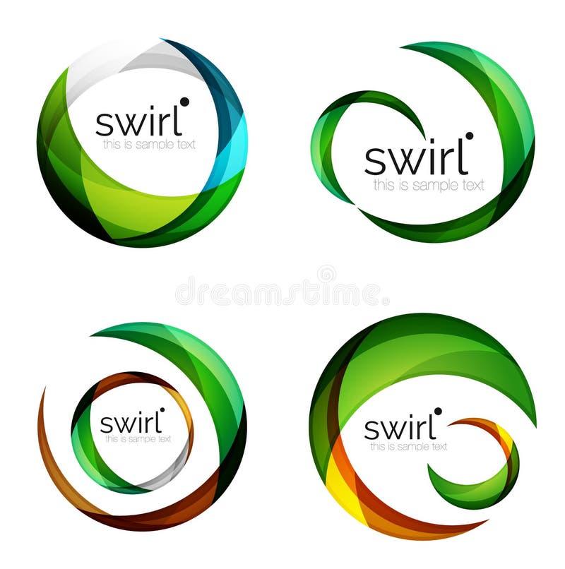 Insieme di turbinio di vettore, icone geometriche di affari o modelli delle insegne di web con lo slogan del campione Creato con  royalty illustrazione gratis
