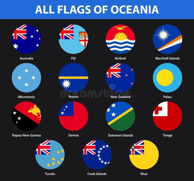 Insieme di tutte le bandiere dei paesi di Oceania Stile piano royalty illustrazione gratis