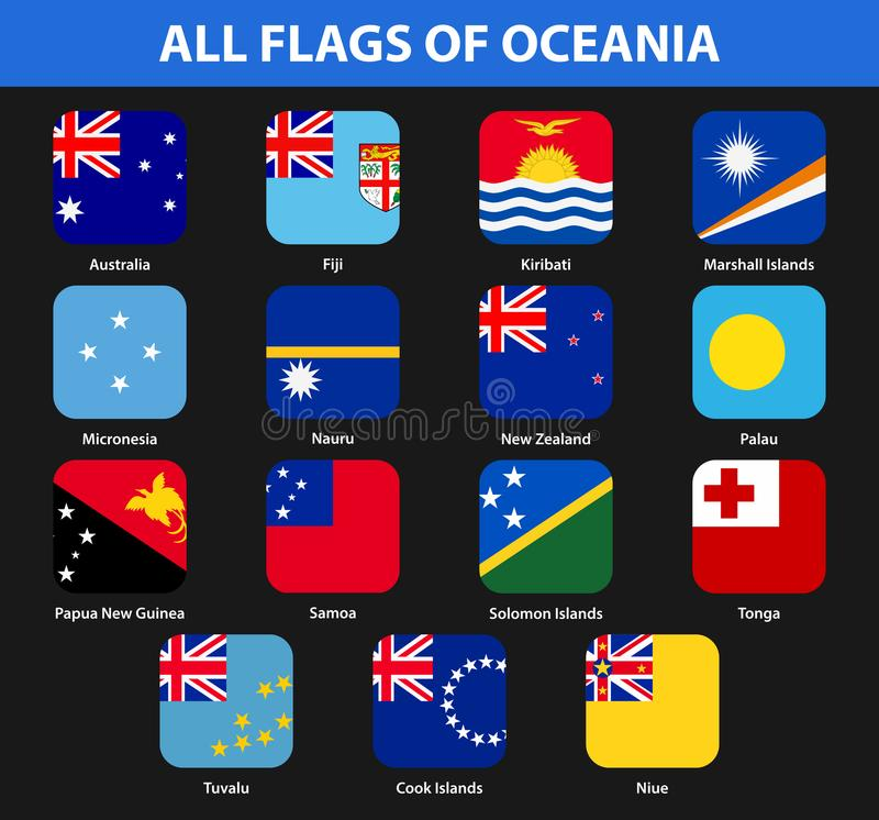 Insieme di tutte le bandiere dei paesi di Oceania Stile piano illustrazione di stock