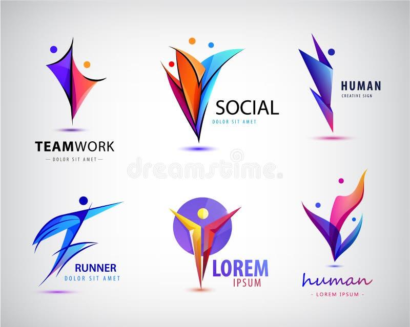Insieme di umano, logos dell'uomo, icone di vettore E illustrazione di stock