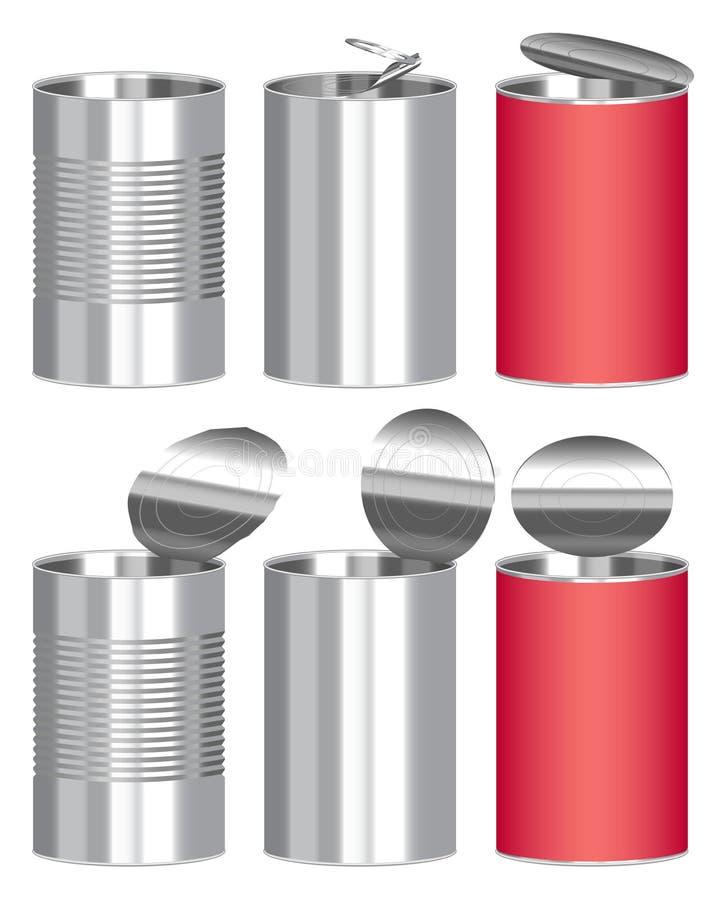 Insieme di un contenitore d'acciaio di alimento inscatolato del cilindro illustrazione di stock