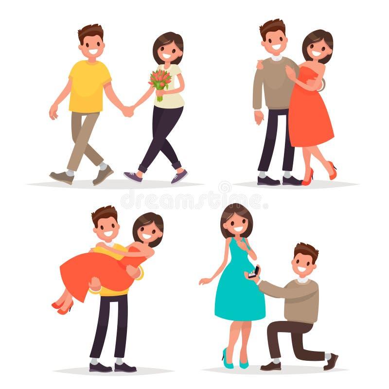 Insieme di un uomo e di una donna amorosi delle coppie Passeggiata, una dichiarazione di amore ed abbracci Illustrazione di vetto illustrazione vettoriale