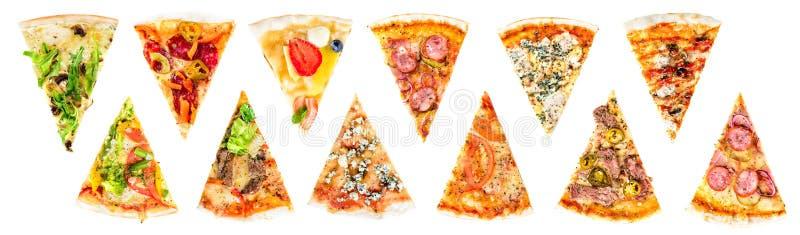 Insieme di una fetta di pizza italiana fresca deliziosa isolata su un wh immagine stock libera da diritti