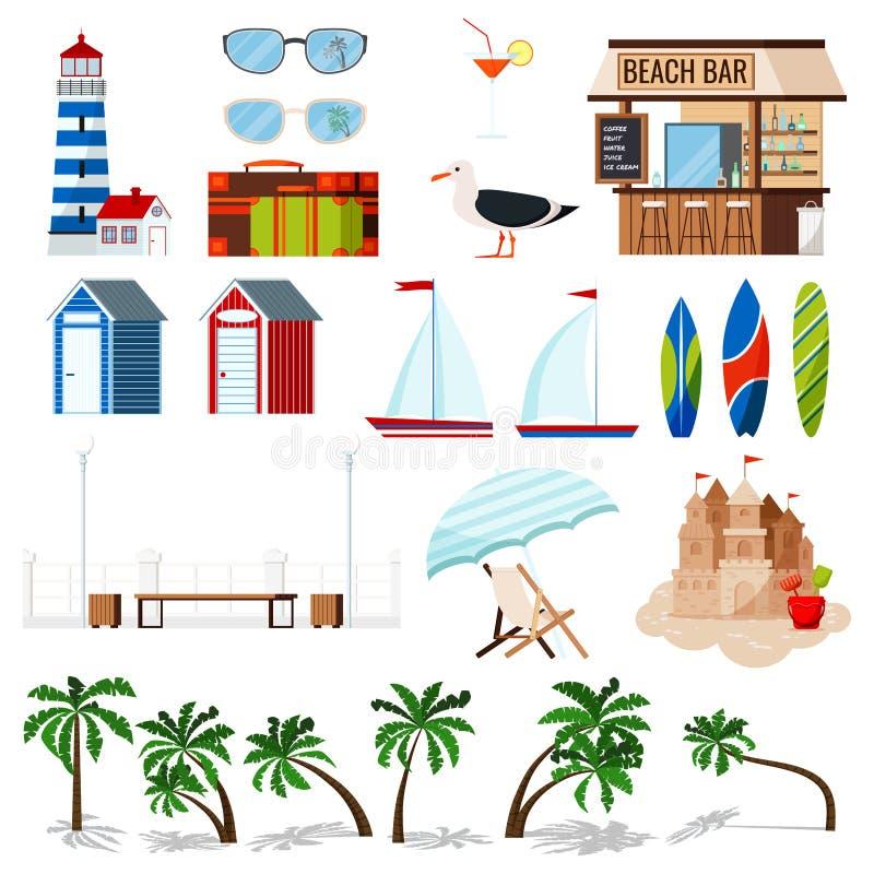 Insieme di vacanza estiva isolato su fondo bianco: barca a vela, bordo di spuma, castello della sabbia, chaise longue, capanna, g illustrazione vettoriale