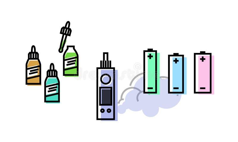 Insieme di Vape Atomizzatore, bottiglie con i liquidi, batterie fotografia stock