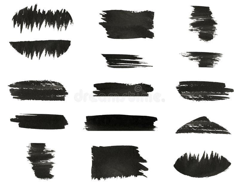 Insieme di vari colpi neri del pennello della mano dell'acquerello royalty illustrazione gratis