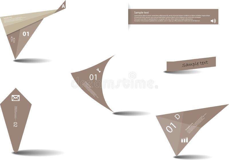 Insieme di vari elementi grafici con colore marrone illustrazione vettoriale