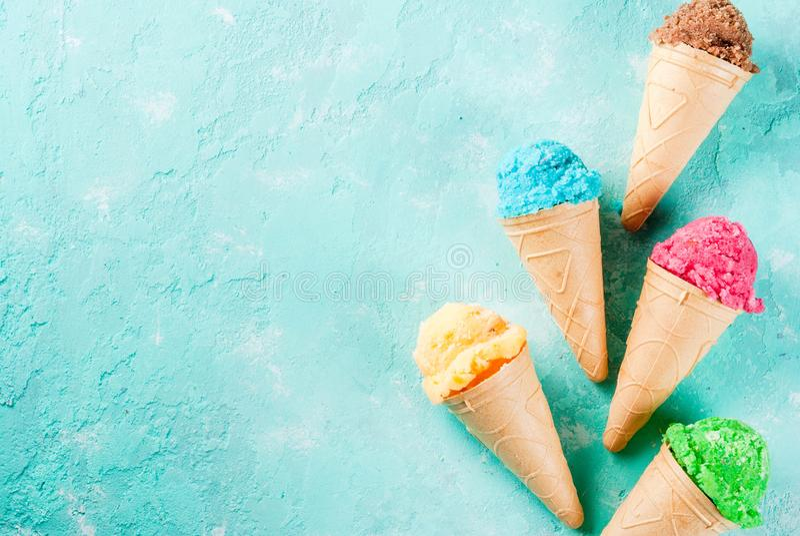 Insieme di vario gelato luminoso fotografia stock libera da diritti