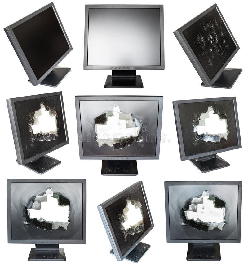 Insieme di vecchi monitor LCD neri con gli schermi nocivi fotografia stock