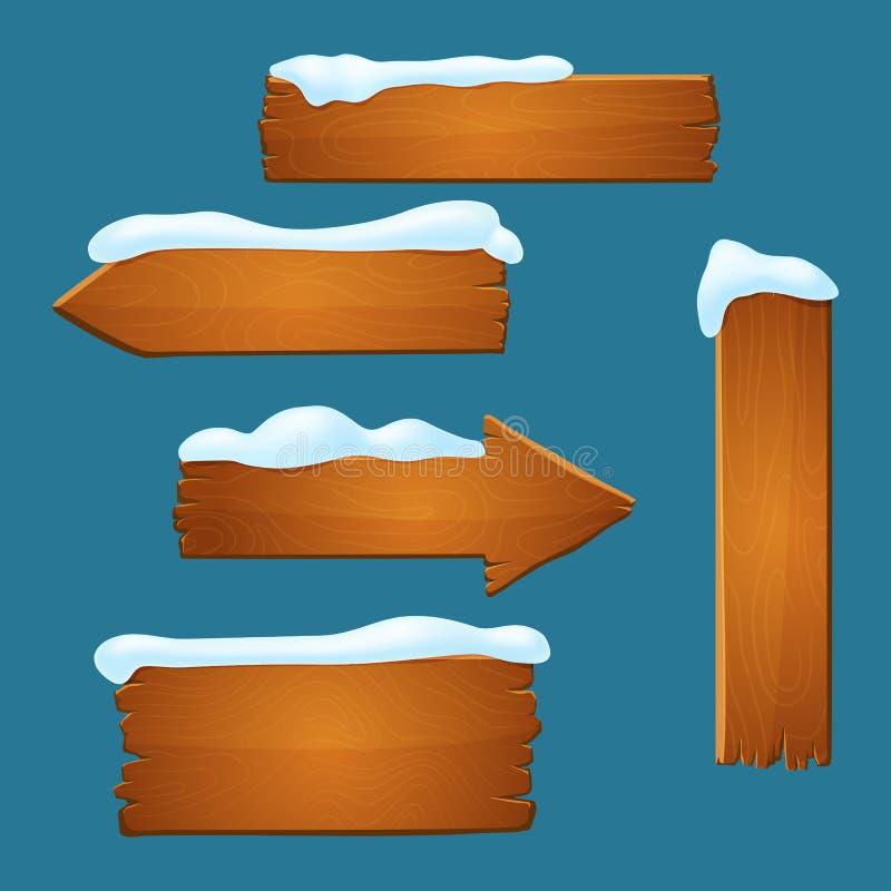 Insieme di vecchi segni di legno Plance con i bordi irregolari coperti di neve illustrazione di stock