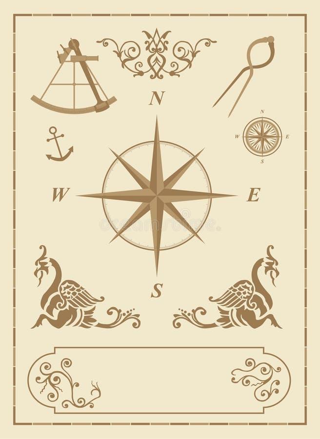 Insieme di vecchi simboli nautici illustrazione vettoriale