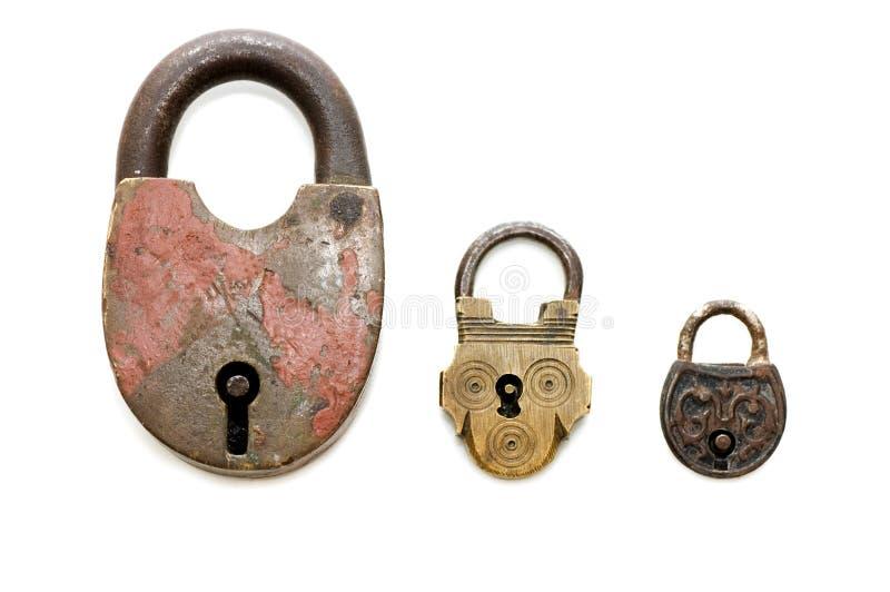Insieme di vecchie serrature isolate immagini stock libere da diritti