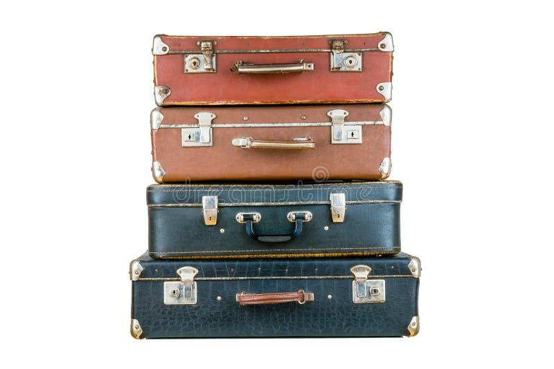 Insieme di vecchie valigie immagini stock