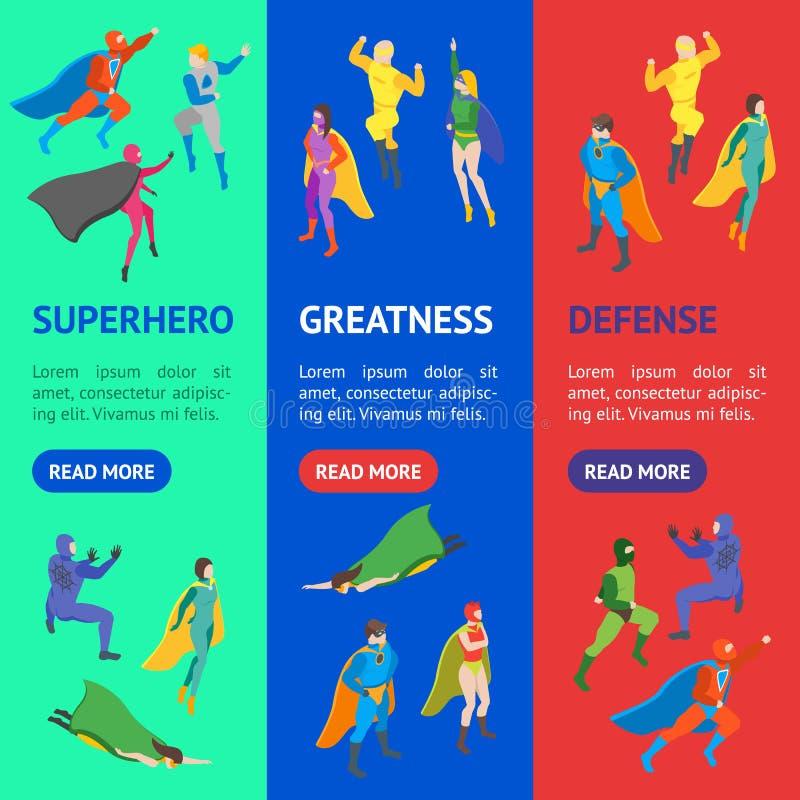 Insieme di Vecrtical dell'insegna del Super Heroes della gente dei personaggi dei cartoni animati Vettore illustrazione vettoriale