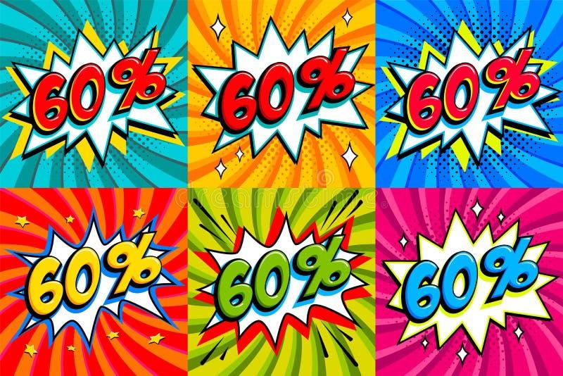 Insieme di vendita Per cento 60 di vendita sessanta fuori dalle etichette su un fondo di forma di colpo di stile dei fumetti Prom illustrazione di stock