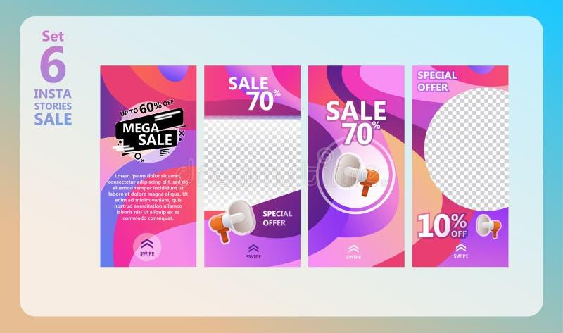 Insieme di vendita di storie di Instagram illustrazione vettoriale