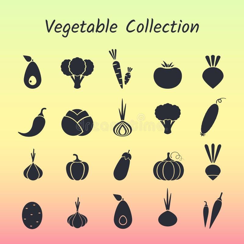 Insieme di verdure dell'icona isolato siluetta nera illustrazione di stock