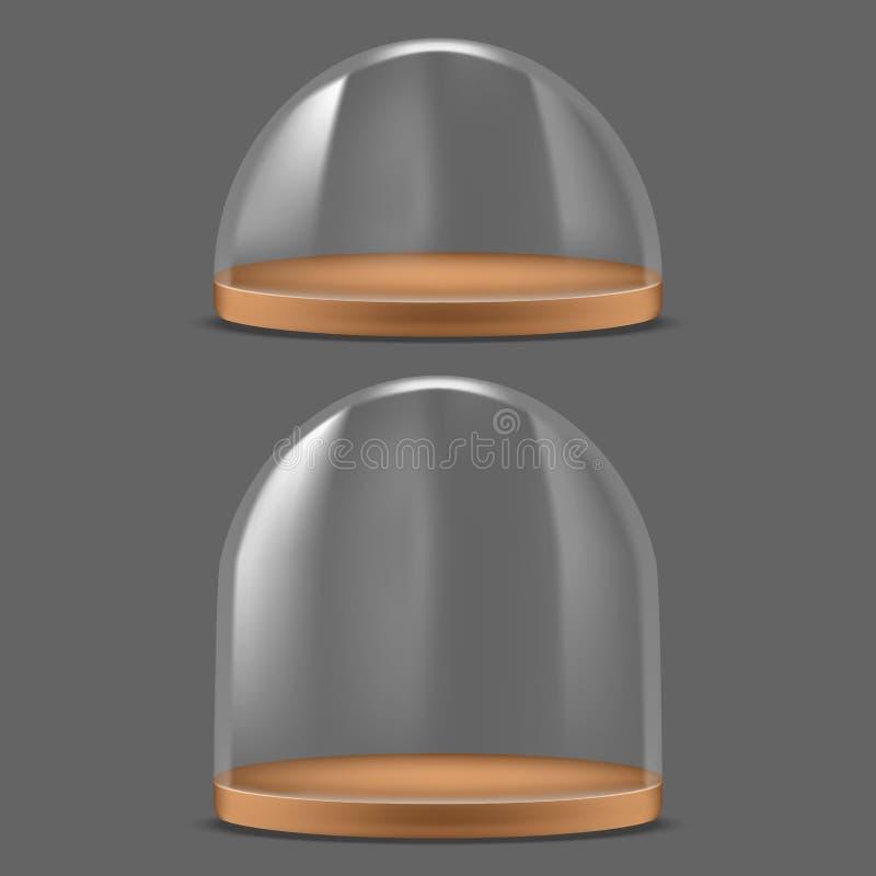 Insieme di vetro dettagliato realistico della cupola 3d Vettore illustrazione vettoriale