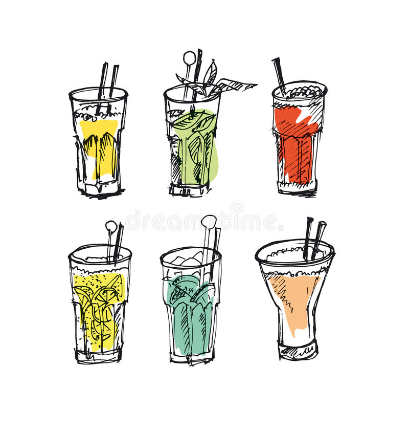 Insieme di vetro di cocktail immagine misera dell'alcool royalty illustrazione gratis