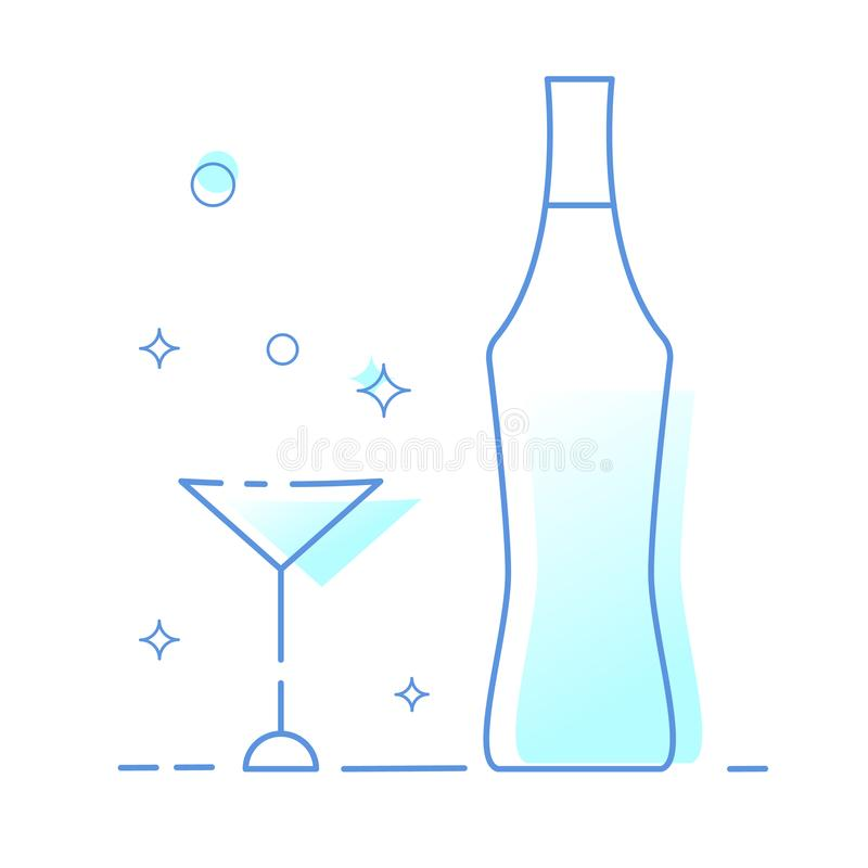 Insieme di vetro e della bottiglia del vermut Illustratore di vettore royalty illustrazione gratis