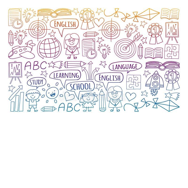 Insieme di vettore di apprendimento della lingua inglese, bambini  ?icone dei drawingicons di s nello stile di scarabocchio Pende illustrazione di stock