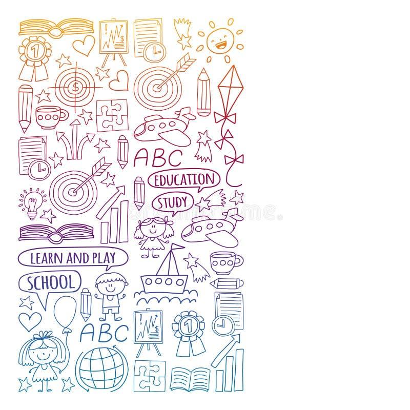Insieme di vettore di apprendimento della lingua inglese, bambini  ?icone dei drawingicons di s nello stile di scarabocchio Pende royalty illustrazione gratis