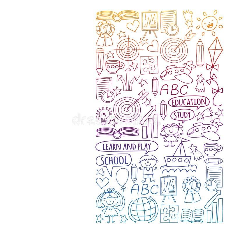 Insieme di vettore di apprendimento della lingua inglese, bambini  ?icone dei drawingicons di s nello stile di scarabocchio Pende illustrazione vettoriale